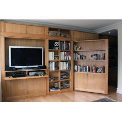 Тайная дверь в блочном книжном шкафе с электромагнитным замком