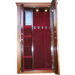 Оружейный сейф на заказ с бронебойным стеклом + отделка деревом + освещение под 5 стволов ОР -СТ Д СВ