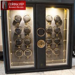 """Сейф """"на заказ"""" в шкаф для 16ти часов с автоподзаводом (16 watch winder) с бронированным стеклом и отделкой алькантарой"""